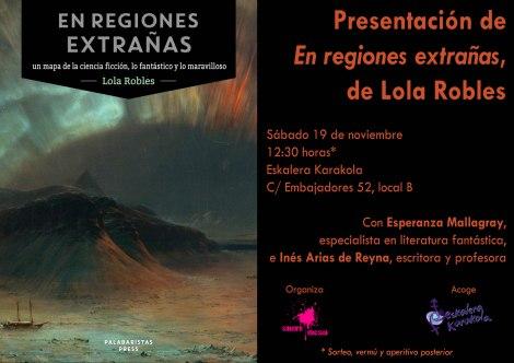 presentación En regiones extrañas de Lola Robles