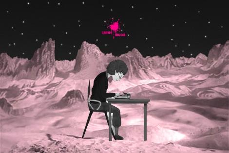 escritora en la luna fucsia