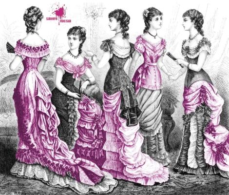 Mujeres de la burguesía vestidas con corsés