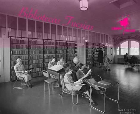 Mujeres leyendo en la biblioteca - Sangre Fucsia